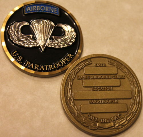 Airborne US Paratrooper Basic Course Qualification Army Challenge Coin