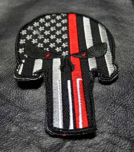 PUNISHER SKULL USA FLAG FIRE FIGHTER THIN RED LINE HOOK PATCH