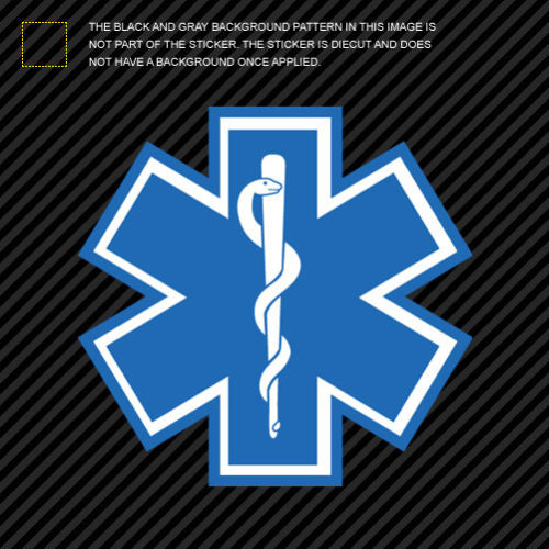 Star of Life Sticker Die Cut Decal Self Adhesive Vinyl EMT