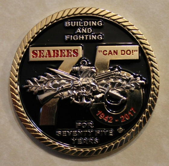 Building and Fighting 75 Years Seabees / CB Can Do Navy Challenge Coin