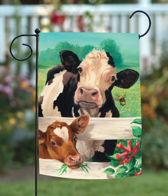 Farm Buddies 12.5 x 18 Barnyard Cow Bee Flower Meadow Garden Flag Double-Sided Print