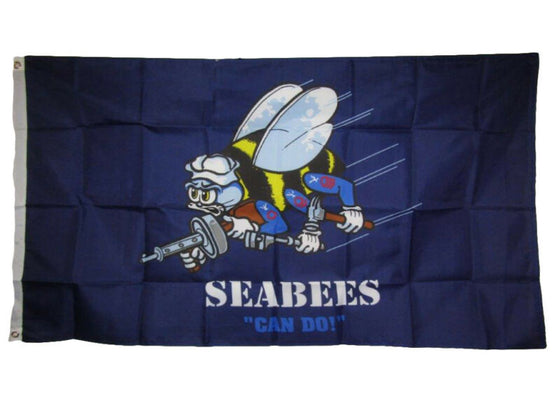 3x5 Seabees Blue Navy Can Do Brass Grommets Flag