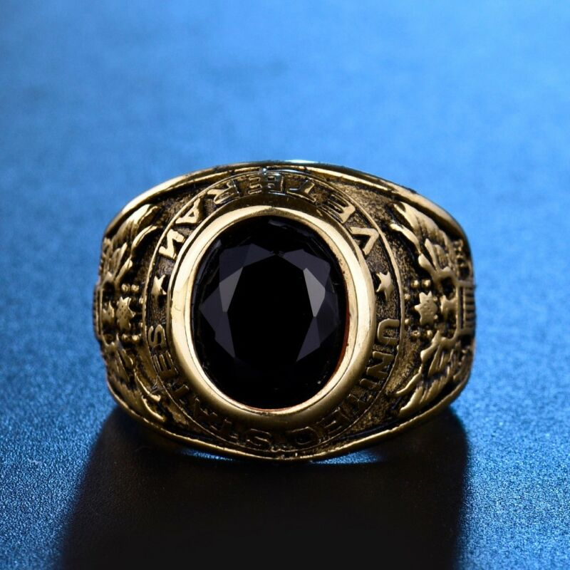 US Veteran Army Men Gold Stainless Steel Black Onyx Gemstone Ring