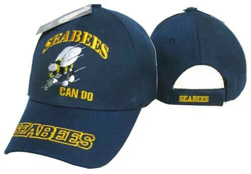 "Seabees U.S. Navy USN ""Can Do"" Navy Blue Embroidered Cap Hat CAP602R"