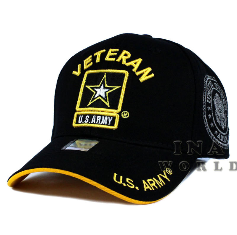 U S  ARMY hat cap Military VETERAN ARMY STRONG Licensed Baseball cap-  Black/Gold