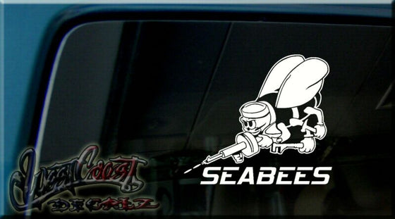 SEABEES SEA BEE BEES NAVY Carpenter Plumber VINYL DECAL STICKER CAR WINDOW SIGN