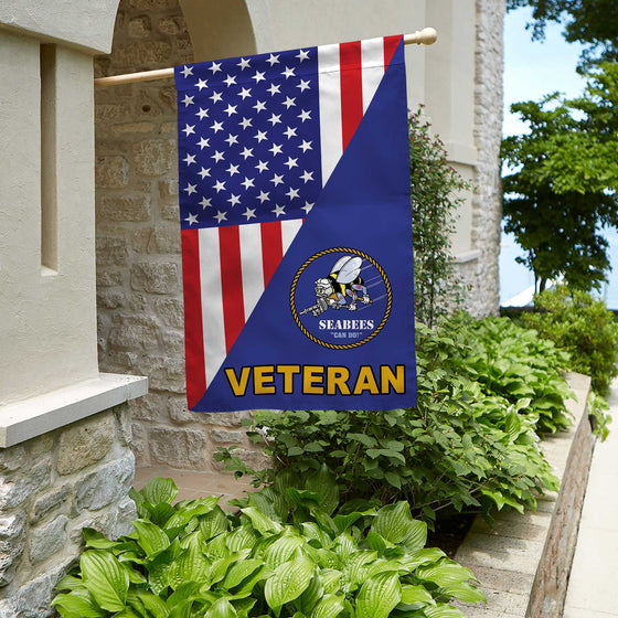 US Seabee Veteran House Flag Double-sided Print