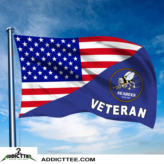 New large 3'x5' Seabee veteran flag