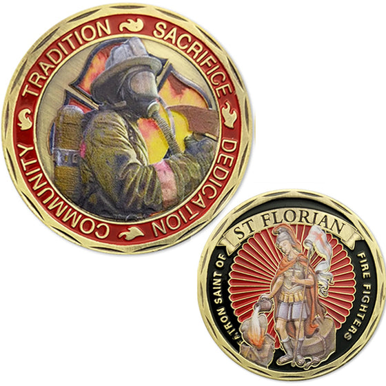 Tradition Sacrifice Dedication Community ST Saint Florian Patron Saint Of Fire Fighters Challenge Coin US Coins Gift