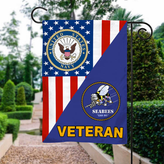 US Navy/Seabees Veteran Garden Flag Double-sided Print