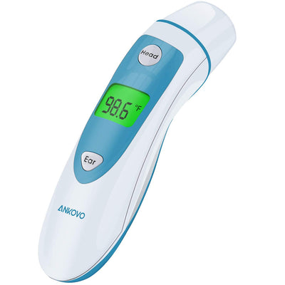 ANKOVO Thermometer for Fever Digital Medical Infrared Forehead and Ear Thermometer for Baby, Kids and Adults with Fever Indicator