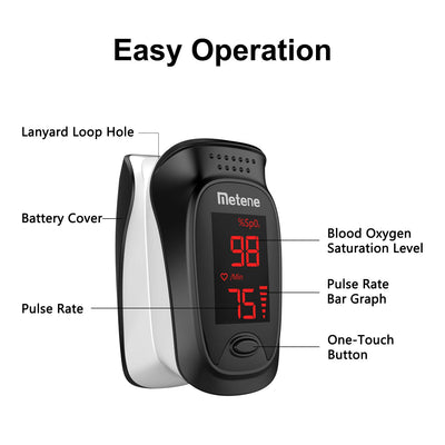 Pulse Oximeter Fingertip, Blood Oxygen Saturation Monitor with Pulse, Accuracy Heart Rate Monitor and SpO2 Meter