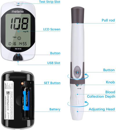 Blood Glucose Meter Kit with Test Strips and Lancets, Diabetes Testing Kit for Blood Ketone and Glucose, Blood Sugar Monitoring System with 1 Meter, 1 Lancing Device, 100 Lancets and 100 Strips