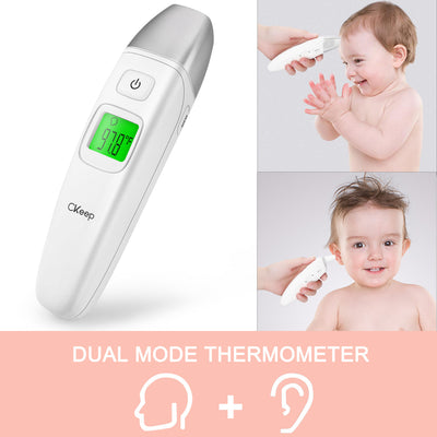 CKeep Digital Medical Thermometer Ear and Forehead for Baby, Toddler and Adults for Fever with FDA and CE Approved