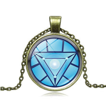 Load image into Gallery viewer, Iron Man Arc Reacto Glass Cabochon Pendant Necklace for Men