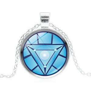 Iron Man Arc Reacto Glass Cabochon Pendant Necklace for Men