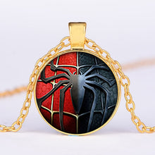 Load image into Gallery viewer, Marvel Avengers necklace Captain America and Iron Man glass pendant necklace for men
