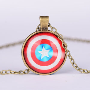 Marvel Avengers necklace Captain America and Iron Man glass pendant necklace for men