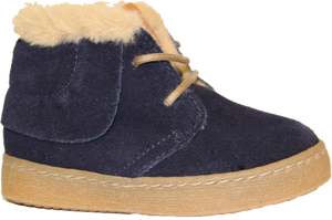 LMDI Navy Fur Lace Up Bootie