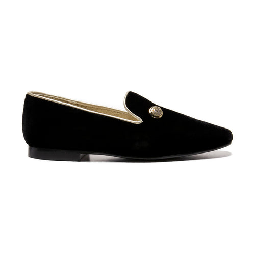 Finding Alex Thina Black Velvet Gold Detail Slip On Dress Shoe