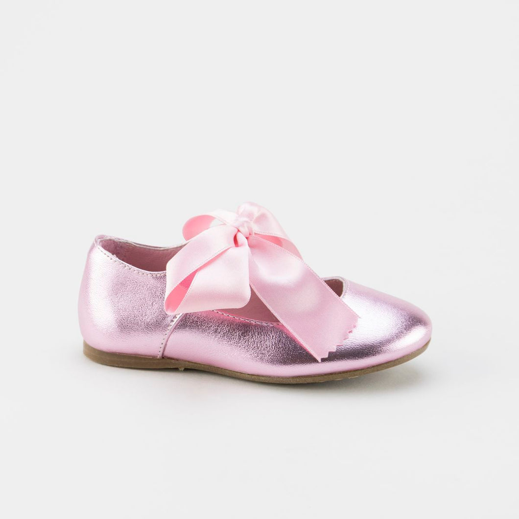 Papanatas Metallic Pink Bow Ballet 0175y. **Final Sale