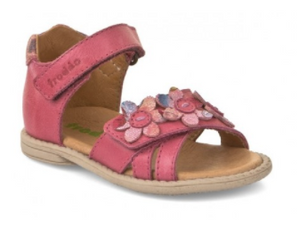 Froddo Pink Flower Leather Velcro Sandal (First Walker)