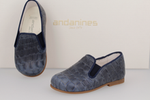 Andanines Navy Crocodile Print Smoking Slip On 182447