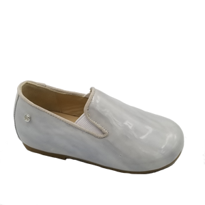 Manuela De Juan Grey Swirl Patent Leather Smoking Slip On