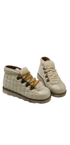 Pepe' ES X LS Off White Lace Up Quilted Fur High Top 818