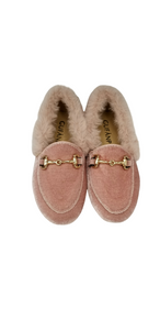 Gufanpei Pink Velvet Fur Trimmed Chain Slip On 186813