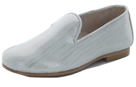 Hoo White Glitter Patent Slip on Loafer 2252