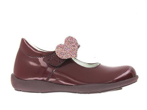 Primigi Burgundy Patent Leather Heart Mary Jane 02430811