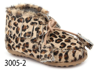 Confetti Leopard Print Pony Hair Fringe Bootie