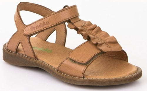 Froddo Tan Cognac T-Bar Ruffle Open Toe Sandal 3150118