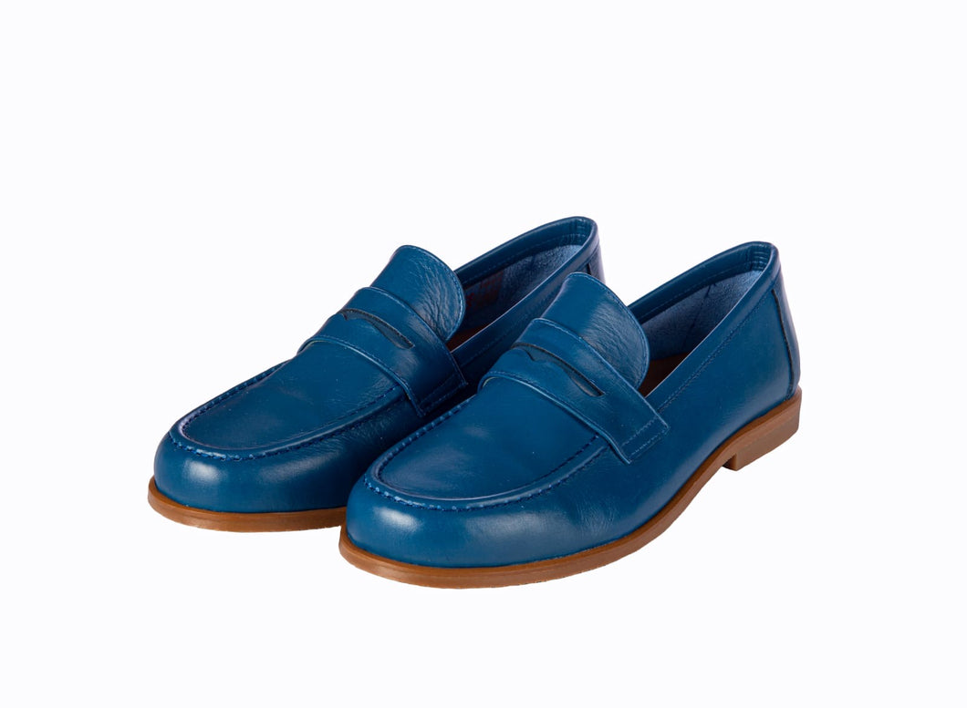 Papanatas Blue Leather Loafer 7040
