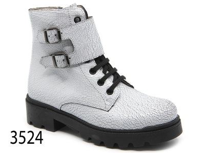 Confetti White Crackle Lace Up Combat Boot 3524