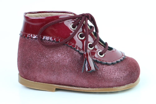 Papanatas Burgundy Shimmer Leather Lace Bootie 3035X