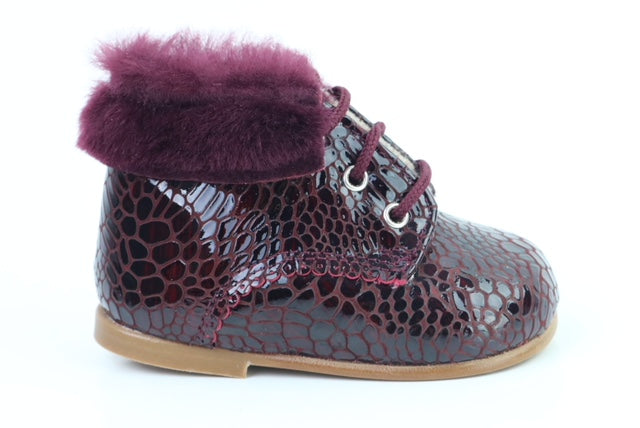Papanatas Crocodile Print Bordeaux Fur Lace Bootie  3594X