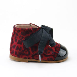 Papanatas Red Dalmatian Suede Lace Up Bootie 3601Z
