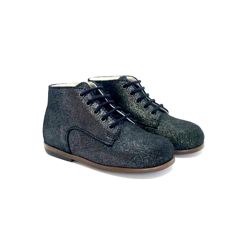 The Eugens Miloto Metallic Black Lace Up First Walker Toddler High Top