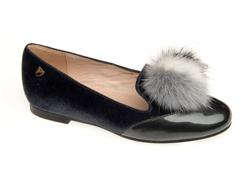 Venettini Grey Velvet Pom Pom Front Patent Slip On