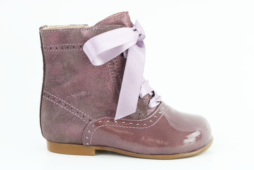Papanatas Lavendar Leather Little Girls Boot 4238X