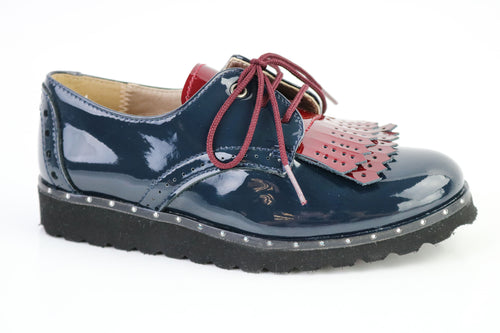 Papanatas Blue Leather Red Fringe Oxford  4454X