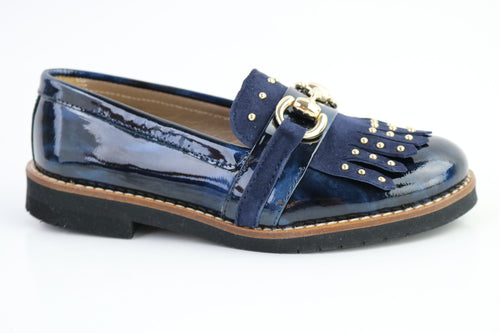 Papanatas Navy Marble & Gold Fringe Slip On 4466X