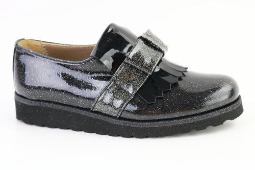 Papanatas Black Patent Sparkle Slip On 4468X
