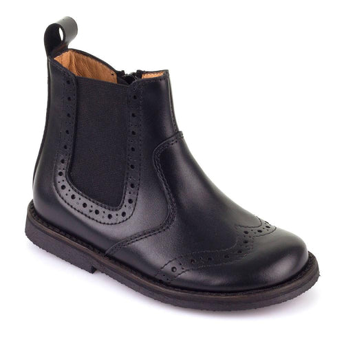 Froddo Black Wingtip Side Zipper Boot G3160061