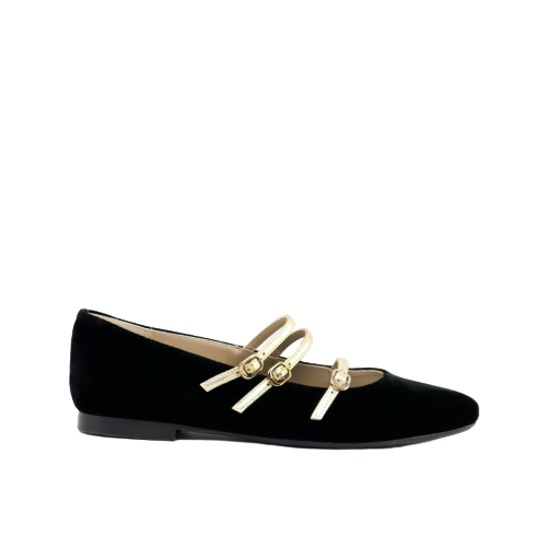 Papanatas Black Velvet Triple Gold Buckle Pointed Mary Jane 48003AB