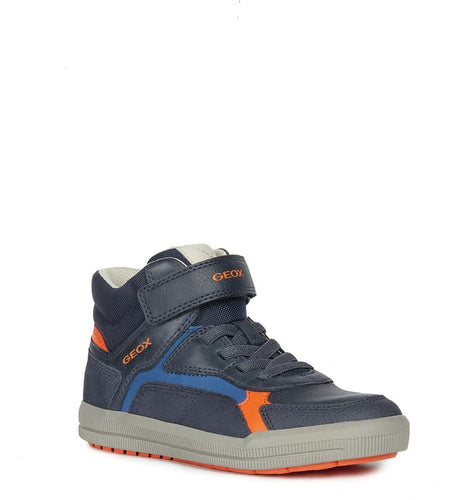 Geox Navy Orange  High Top Velcro Sneaker J944
