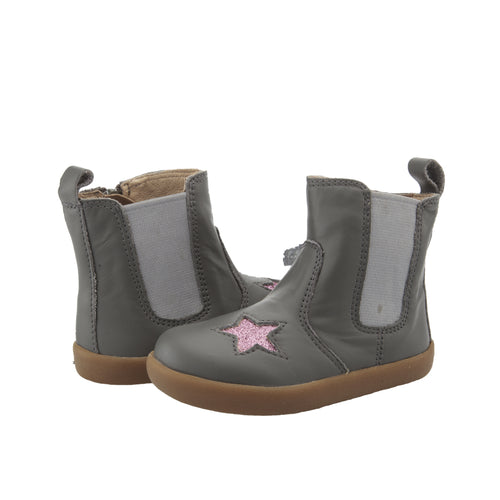Oldsoles Grey Pink Glitter Star Side Zipper Bootie 5060