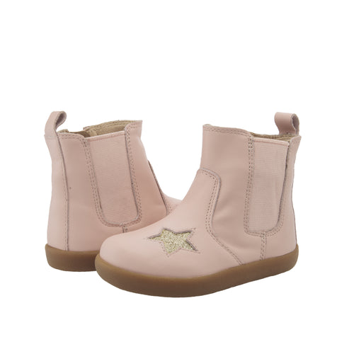 Oldsoles Light Pink Glitter Star Side Zipper Bootie 5060